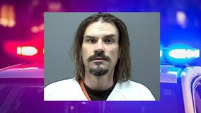 Homeless man trespassing in Yorkville; cut hair on porch, used hose