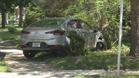 Pursuit, crash in Whitefish Bay yard caught on camera