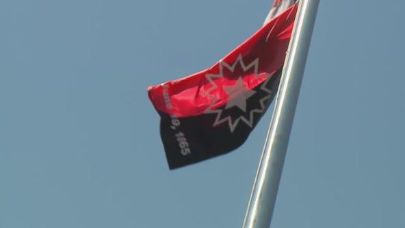 Juneteenth flag raised outside Zeidler Building