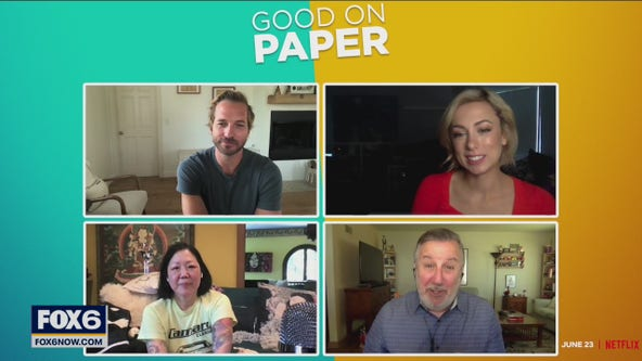 Gino talks with the cast of Netflix movie 'Good on Paper'