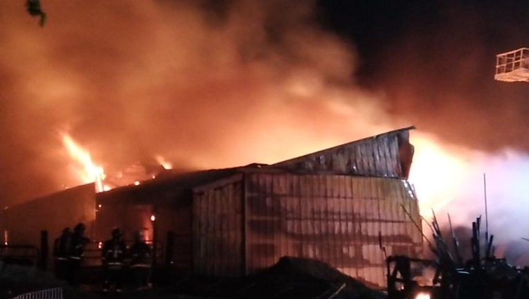 Barn fires in Town of Belgium