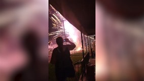 Video: Rental truck catches fire, causing fireworks explosion
