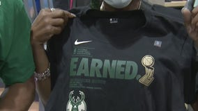 Fans lining up to get Bucks championship gear
