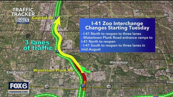 Closures begin at I-41 and Appleton, Zoo Interchange lanes reopening