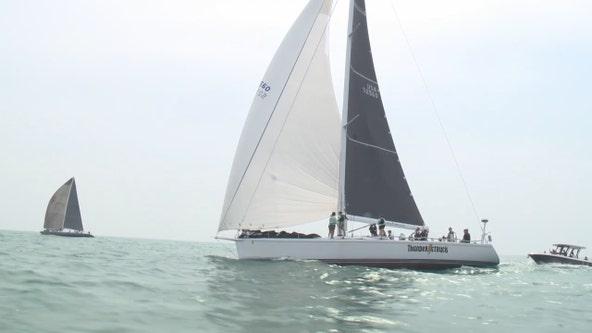 Racine Yacht Club Hook Race across Lake Michigan starts