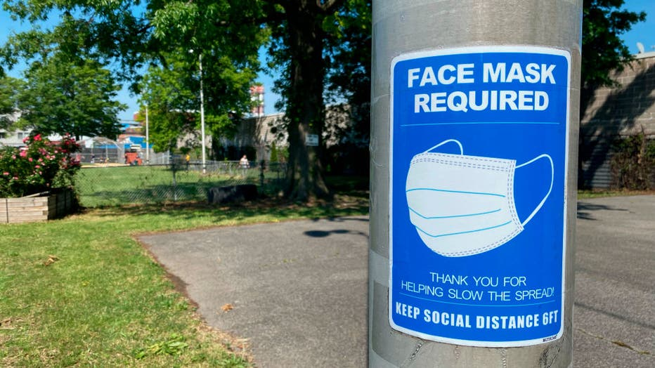 Face Mask Required sign at baseball field, Astoria, Queens, New York