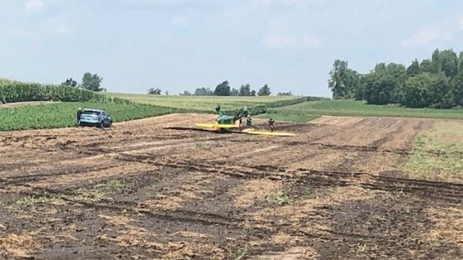 Sheriff's officials investigate the crash of a small airplane near Ripon July 29, 2021. (WLUK image)