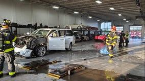 Fire at Saukville car dealership, 1 firefighter injured