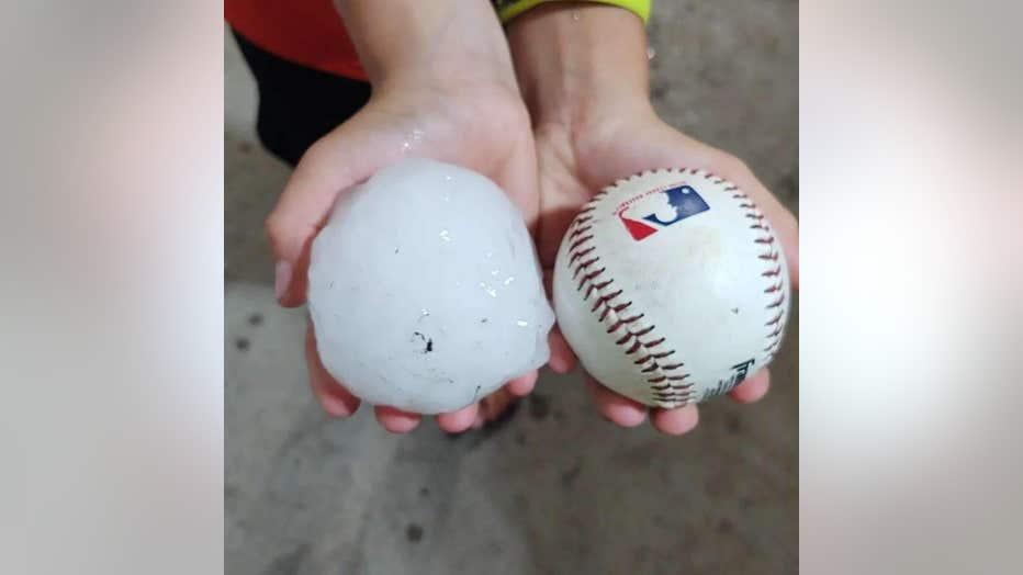 baseball-sized hail Appleton MN Sheridan Giese