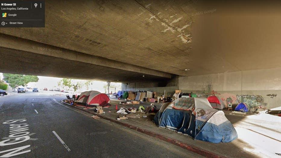 homeless encampment under 101 Freeway North Gower Street