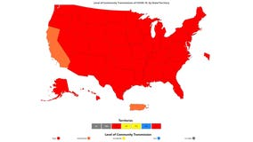 CDC COVID-19 transmission map of US is almost completely red
