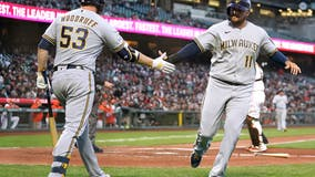 Cain homers, Woodruff pitches Brewers past Giants 6-2