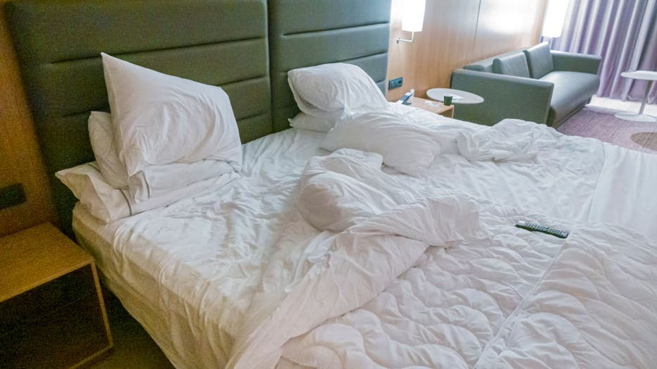 99f916e3-Spain, Barcelona, Les Corts, AC Hotel Diagonal LÇIlla, hotel guest room with unmade bed