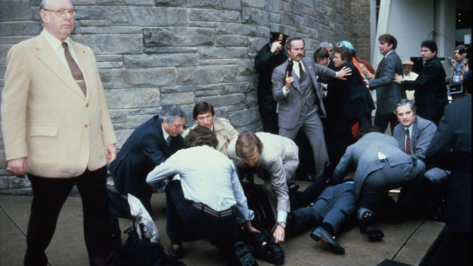 Chaos Outside The Washington Hilton Hotel After The Assassination Attempt On President Reagan