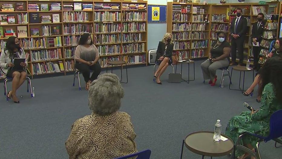 First Lady Jill Biden visits with teachers, parents at Marvin E. Pratt Elementary School in Milwaukee