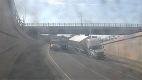 Semi rollover in Mitchell Interchange, ramp to WB I-894 closed