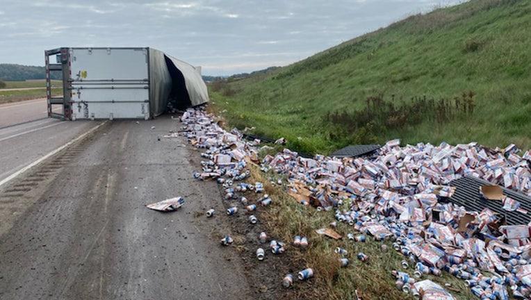 Truck hauling beer overturns near Hixton, WI (Credit: Wisconsin State Patrol)