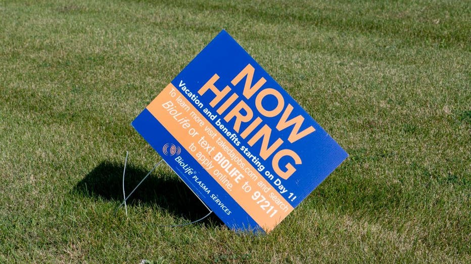 Mounds View, Minnesota, Now hiring sign at Biolife plasma with vacation and benefits on the first day.