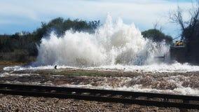 Big water main break in North Austin damages Metro Rail line