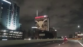 Fairmont illuminates Longhorn logo on building
