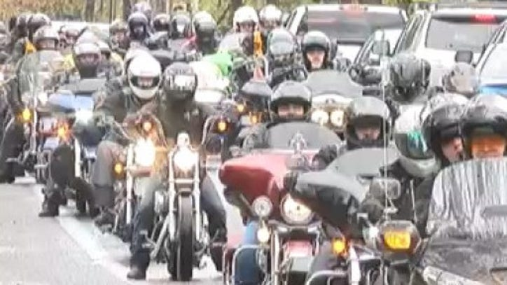 Hundreds Of Bikers Donate Christmas Gifts To Abused