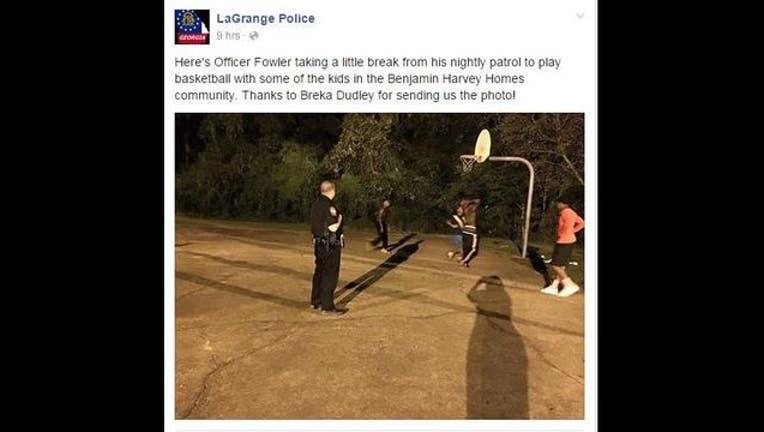 LaGrange officer plays basketball with neighborhood kids-404959