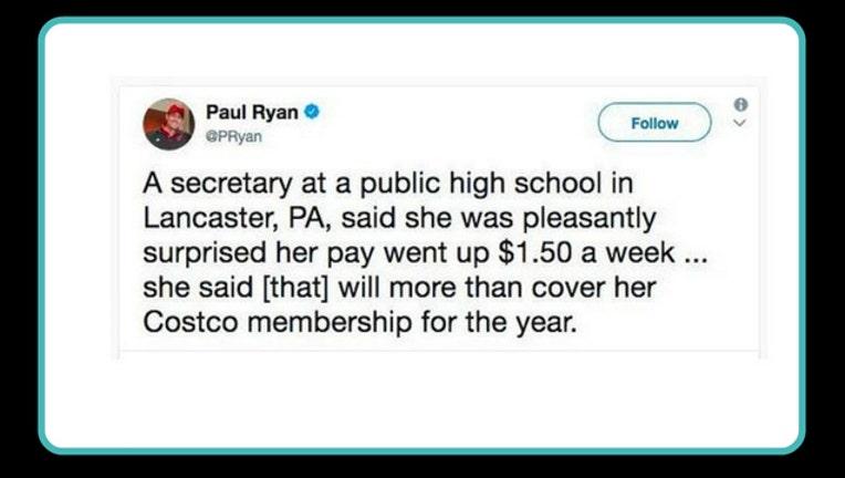 Paul Ryan Tweet about $1-404023.50 bump in pay
