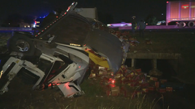 Truck carrying frozen chicken crashes on I-20