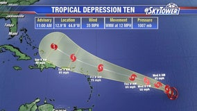 Tropical Depression 10 forms; likely to become 'Jerry' later today