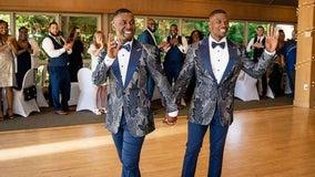 Couple surprises wedding guests with secret flash mob dance routine