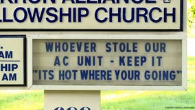 'It's hot where you're going': Church tells thief who stole AC unit to keep it with message on sign