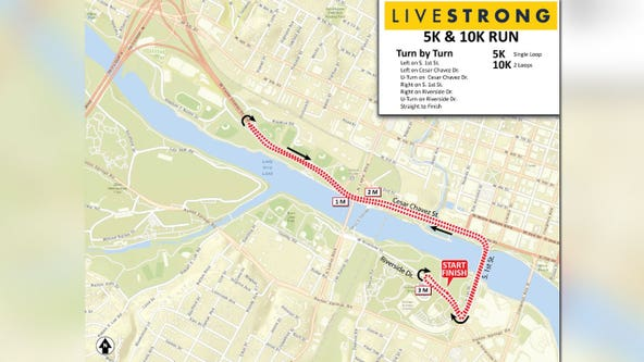 Road closures in downtown Austin due to 5.12K Run to Brunch