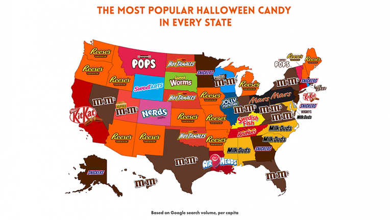 According to the map, Reese's Peanut Butter Cups were the most popular candy in 12 states.
