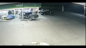 Caught on camera: Man plows truck into Michigan gas station, rips off plate before leaving scene