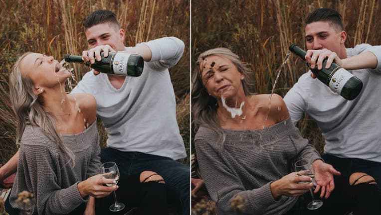 The couple starting making the rounds on social media after sharing photos of a failed attempt to recreate a picture found on Pinterest. (Chandler Lefever / Saltwater Summit Photography)