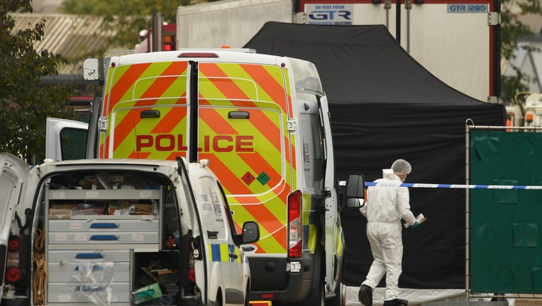 THURROCK, ENGLAND - OCTOBER 23: A Police forensic investigation team are parked near the site where 39 bodies were discovered in the back of a lorry on October 23, 2019 in Thurrock, England. The lorry was discovered early Wednesday morning in Waterglade Industrial Park on Eastern Avenue in the town of Grays. Authorities said they believed the lorry originated in Bulgaria and entered the country at Holyhead on October 19. The suspected driver was arrested in connection with the investigation. (Photo by Leon Neal/Getty Images)
