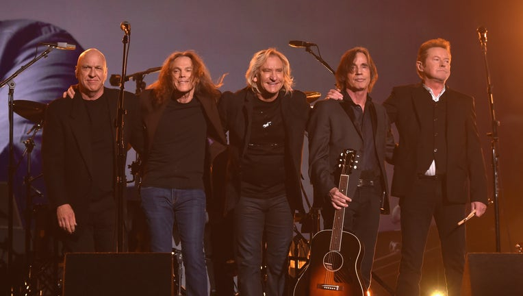 LOS ANGELES, CA - FEBRUARY 15: (L-R) Musicians Bernie Leadon, Timothy B. Schmit, Joe Walsh, Jackson Browne and Don Henley, paying tribute to Eagles founder Glenn Frey, appear onstage during The 58th GRAMMY Awards at Staples Center on February 15, 2016 in Los Angeles, California. (Photo by Larry Busacca/Getty Images for NARAS)