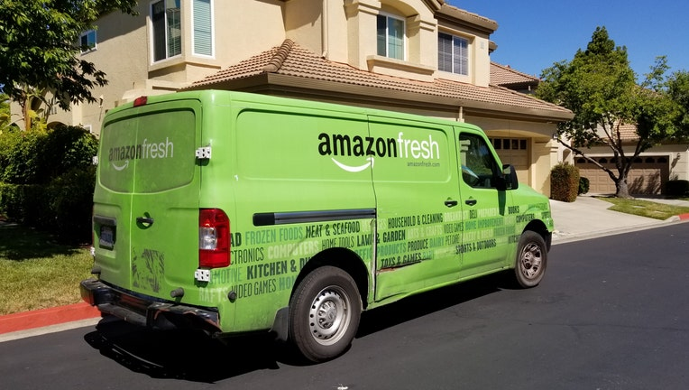 Amazon Fresh grocery delivery truck from the Amazon Prime service parked on a suburban street in San Ramon, California, July 5, 2018. (Photo by Smith Collection/Gado/Getty Images)