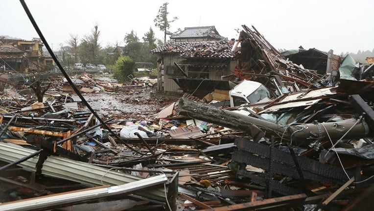This general view shows damaged homes caused by strong wind brought by Typhoon Hagibis in Ichihara, Chiba prefecture on October 12, 2019.