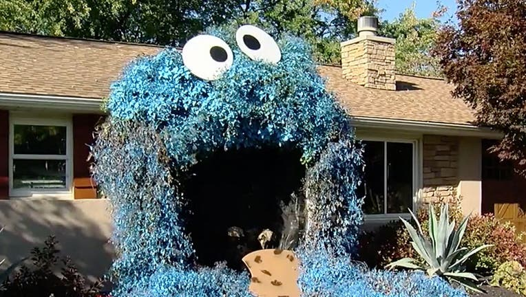 One Pennsylvania woman has dazzled her local community by transforming the front door of her home into a larger-than-life Cookie Monster.