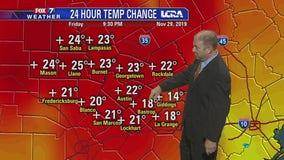 Evening weather forecast for November 29