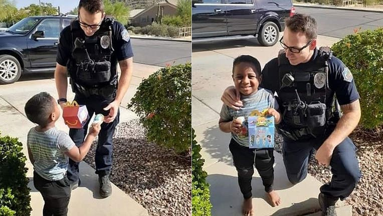 """""""He said, 'I brought you a Happy Meal but before I give it to you we need to talk about the right time to call 911,'"""" Charlie's mom, Kim Skabelund, said."""