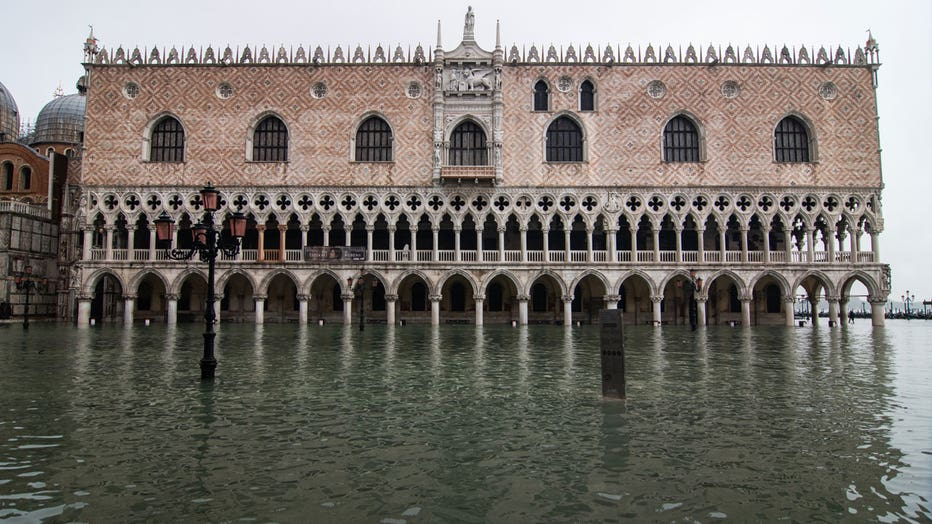 A building in St. Mark's Square in Venice is underwater after the city experiences its second-worst flooding ever recorded. (Photo by Simone Padovani/Awakening/Getty Images)