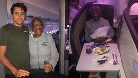 Plane passenger gives first-class seat to 88-year-old woman, makes her 'dream' come true