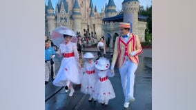 Heartwarming video shows girls dressed as Mary Poppins meeting the iconic nanny at Disney World