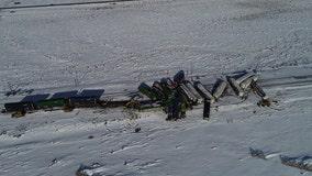Freight train derails in Wyoming snow