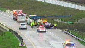 18-wheeler goes over bridge in southeast Travis County
