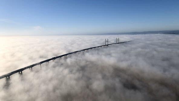UK bridge shrouded in 'stunning' blanket of fog