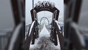 Gatlinburg SkyBridge coated in snow in Tennessee's Great Smoky Mountains