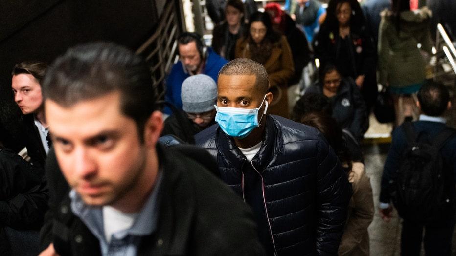 3f04a228-New York Mayor De Blasio Distributes Information On The Coronavirus In Union Square